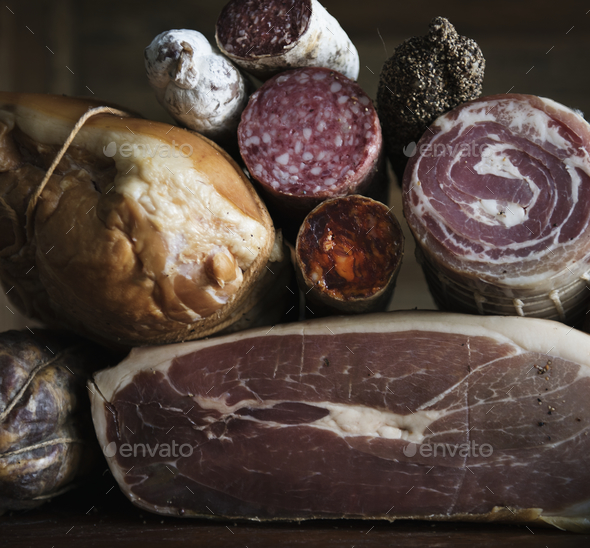 Closeup of charcuterie meat products - Stock Photo - Images
