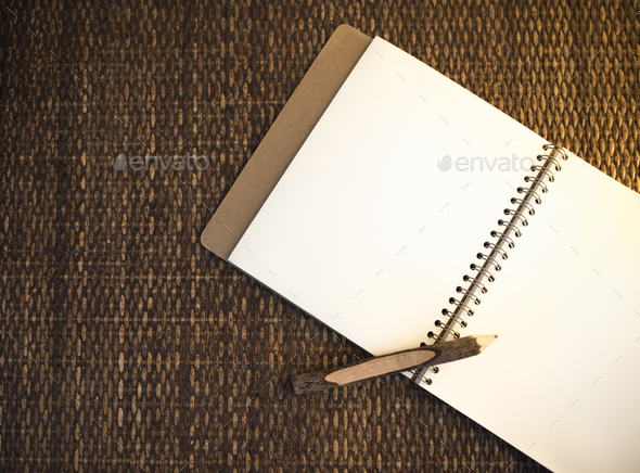 Notebook with pencil design space - Stock Photo - Images