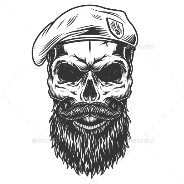 Skull with Beard - Miscellaneous Vectors