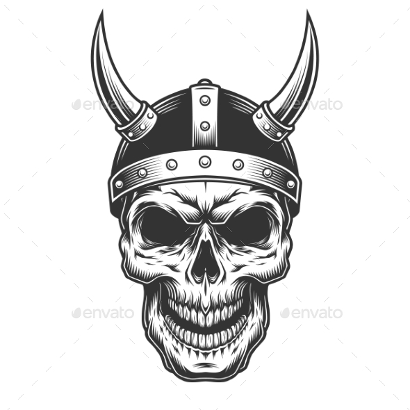 Skull in the Viking Helmet - Miscellaneous Vectors