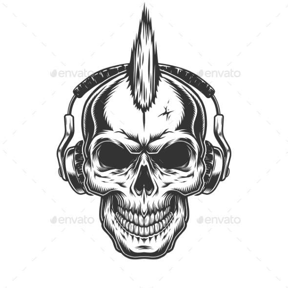 Skull with Headphones - Man-made Objects Objects