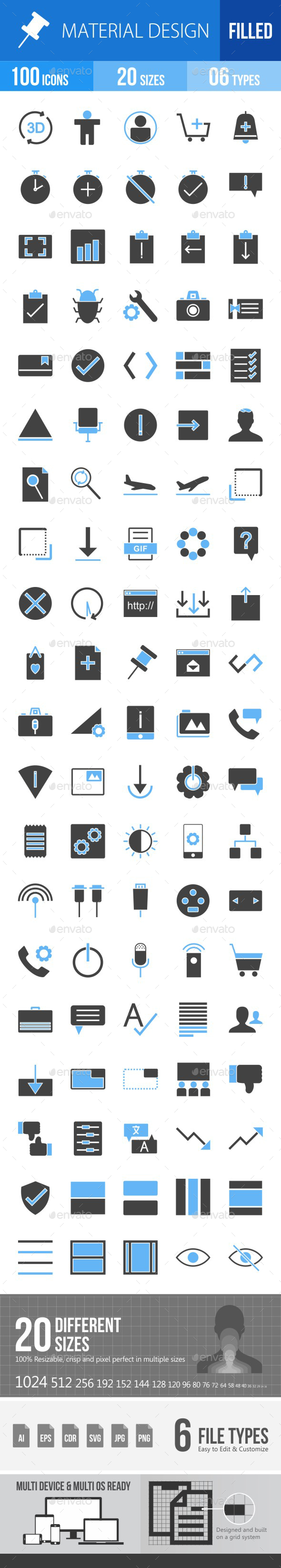 Material Design Blue & Black Icons - Icons