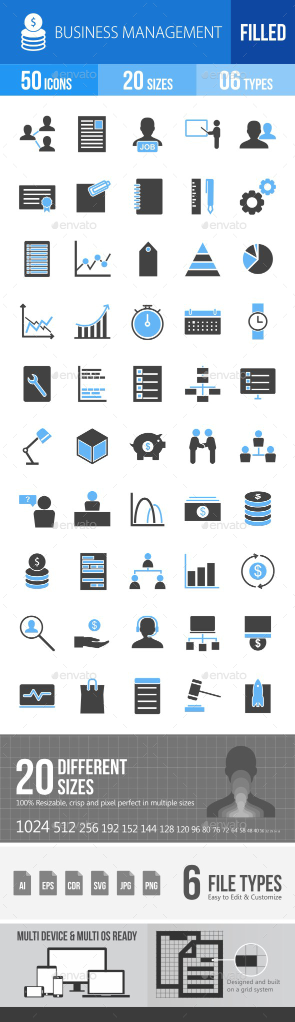 Business Management Blue & Black Icons - Icons