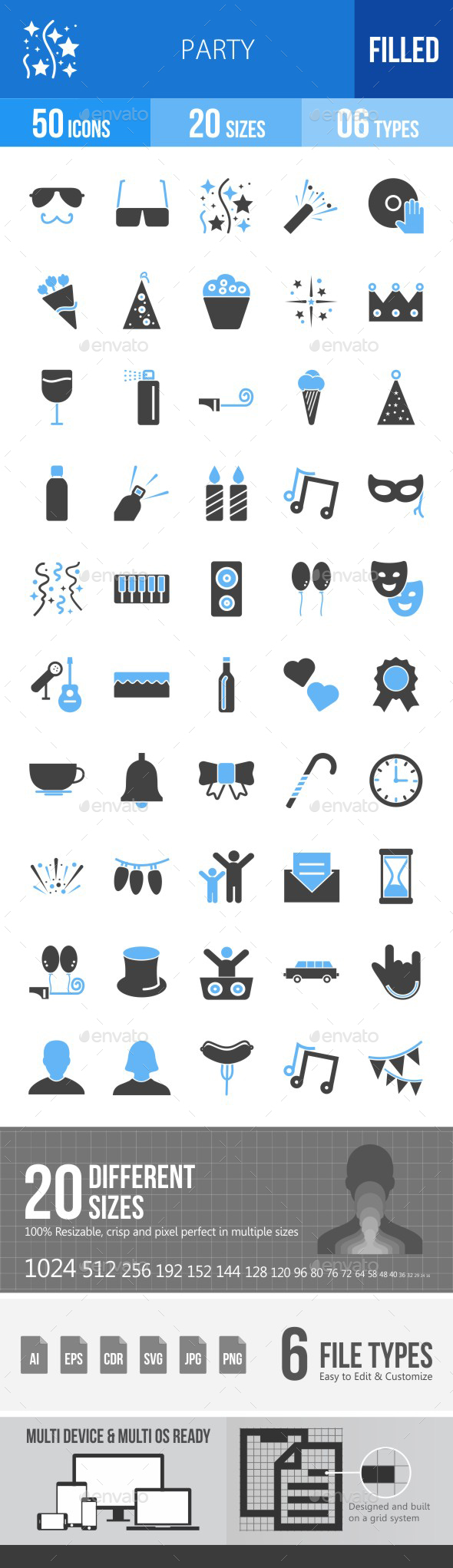 Party Blue & Black Icons - Icons