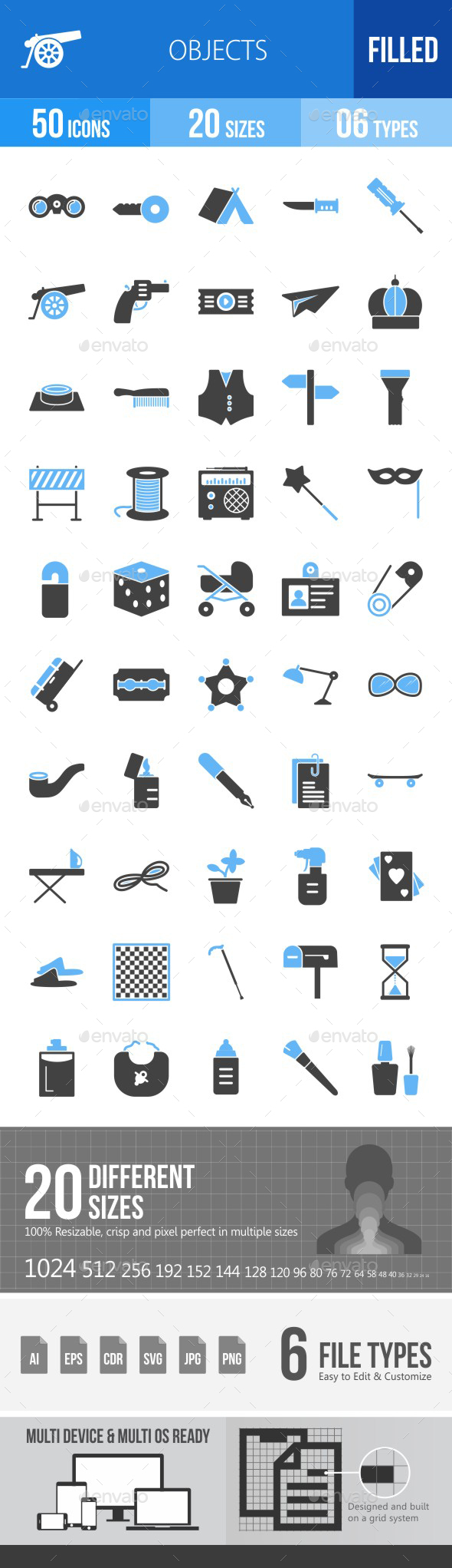 Objects Blue & Black Icons - Icons
