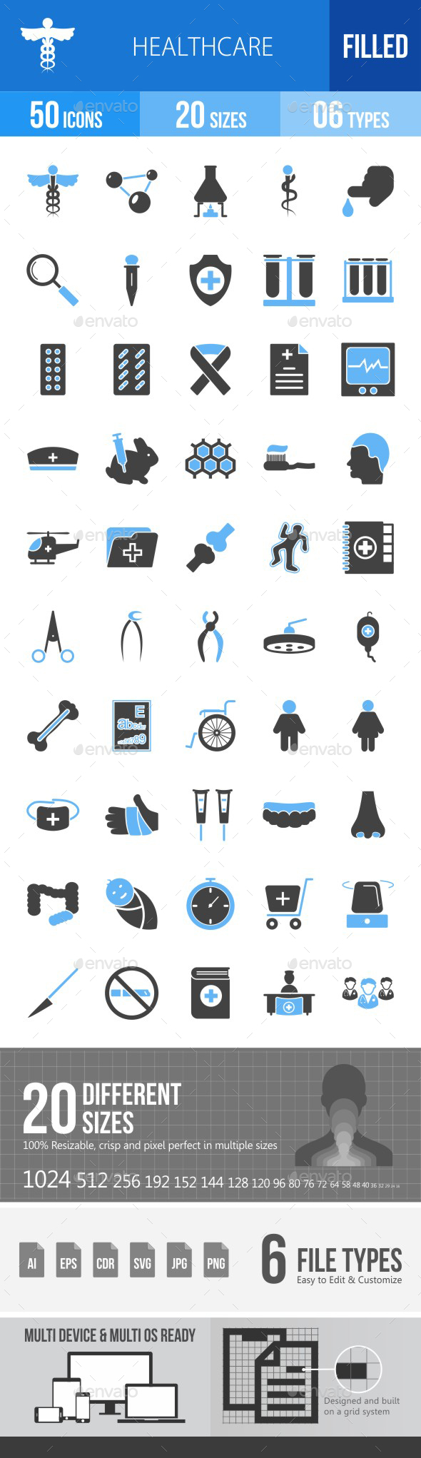 Healthcare Blue & Black Icons - Icons