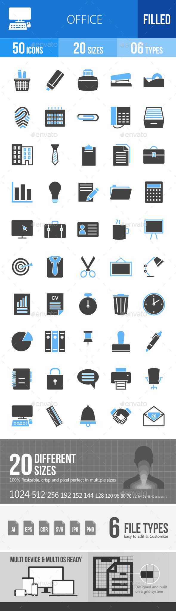 Office Blue & Black Icons - Icons