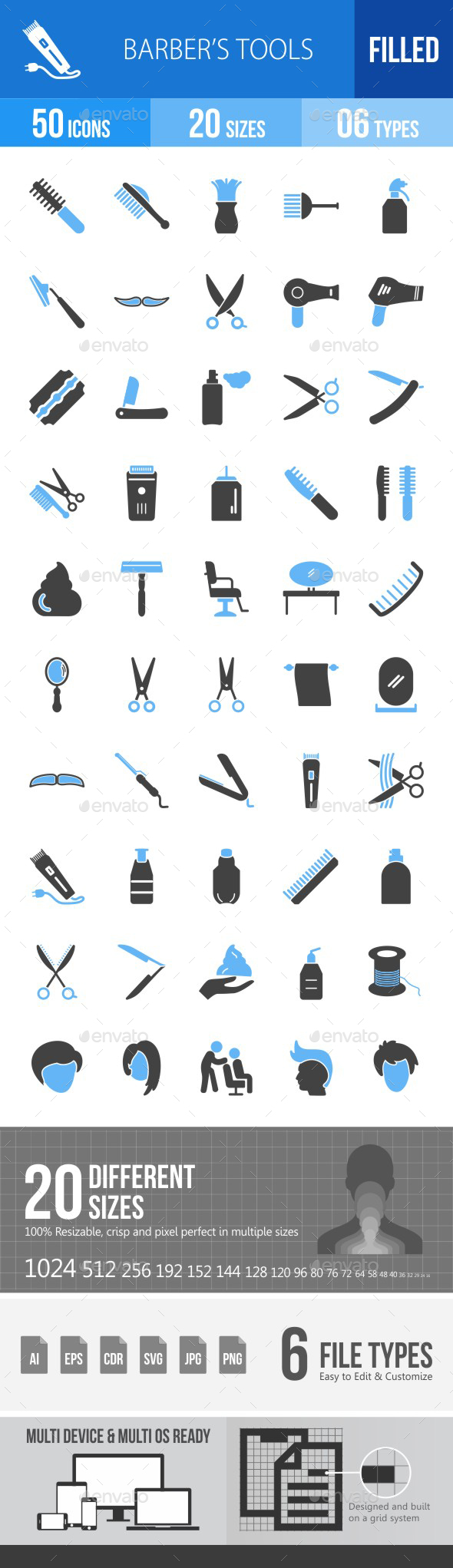 Barber's Tools Blue & Black Icons - Icons