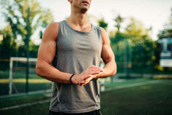 Muscular male athlete on training, fitness workout - Stock Photo - Images