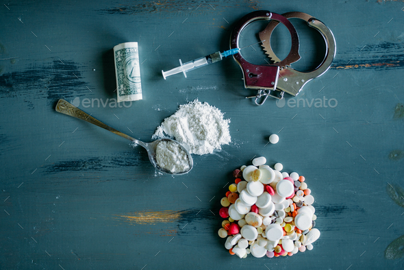 Junky kit, narcotics concept, addiction problem - Stock Photo - Images