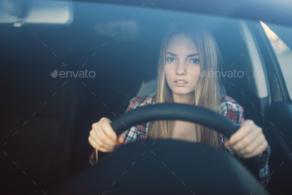 Female student on driving exam, car school concept - Stock Photo - Images