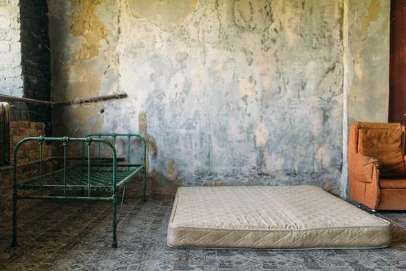 Drug addict room in grunge abandoned house - Stock Photo - Images