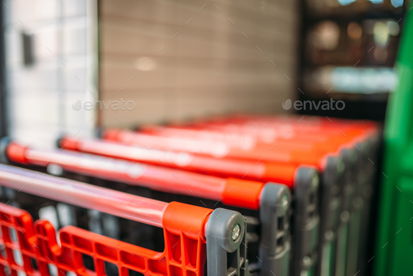 Shopping carts in supermarket closeup, nobody - Stock Photo - Images