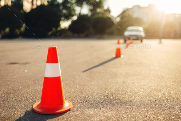 Cones for the examination, driving school concept