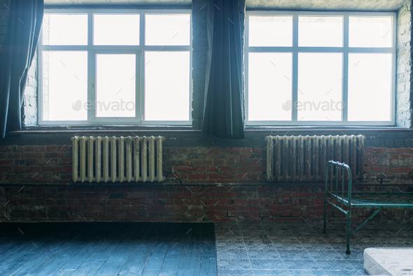 Drug addict room, window with bright sunlight - Stock Photo - Images