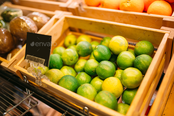 Box with fruits on stand in food store, nobody - Stock Photo - Images