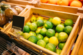 Box with fruits on stand in food store, nobody - PhotoDune Item for Sale