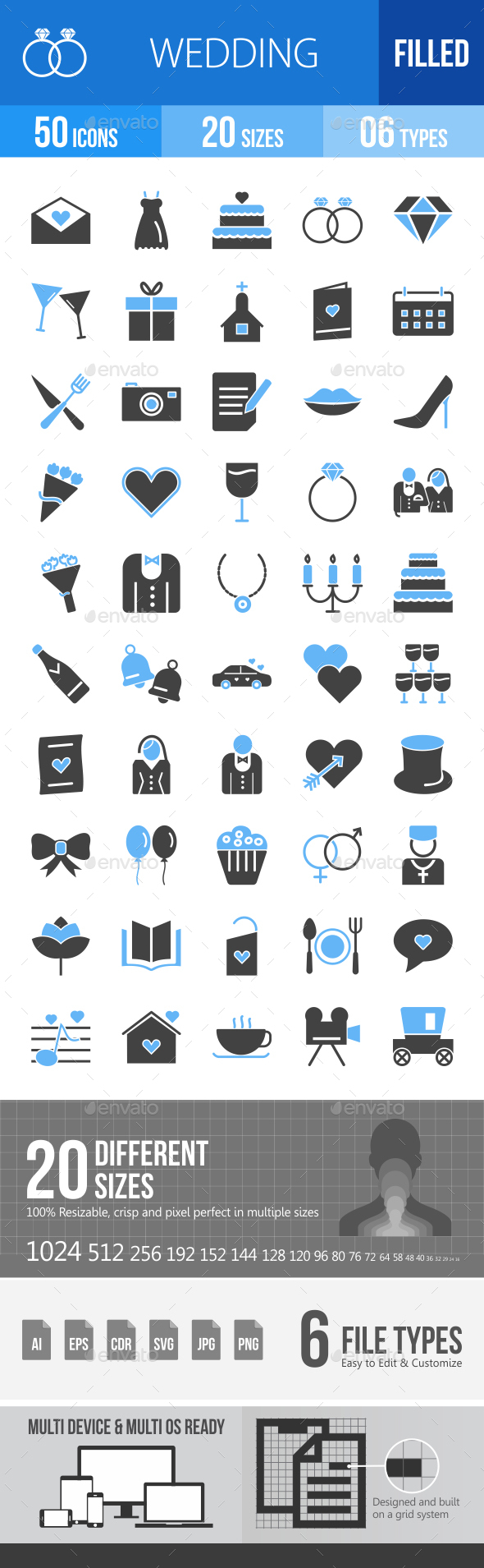50 Wedding Filled Blue & Black Icons - Icons