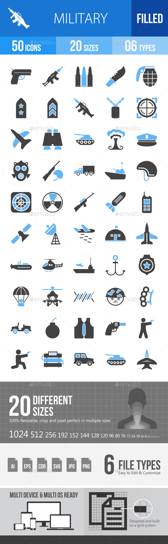 50 Military Filled Blue & Black Icons - Icons