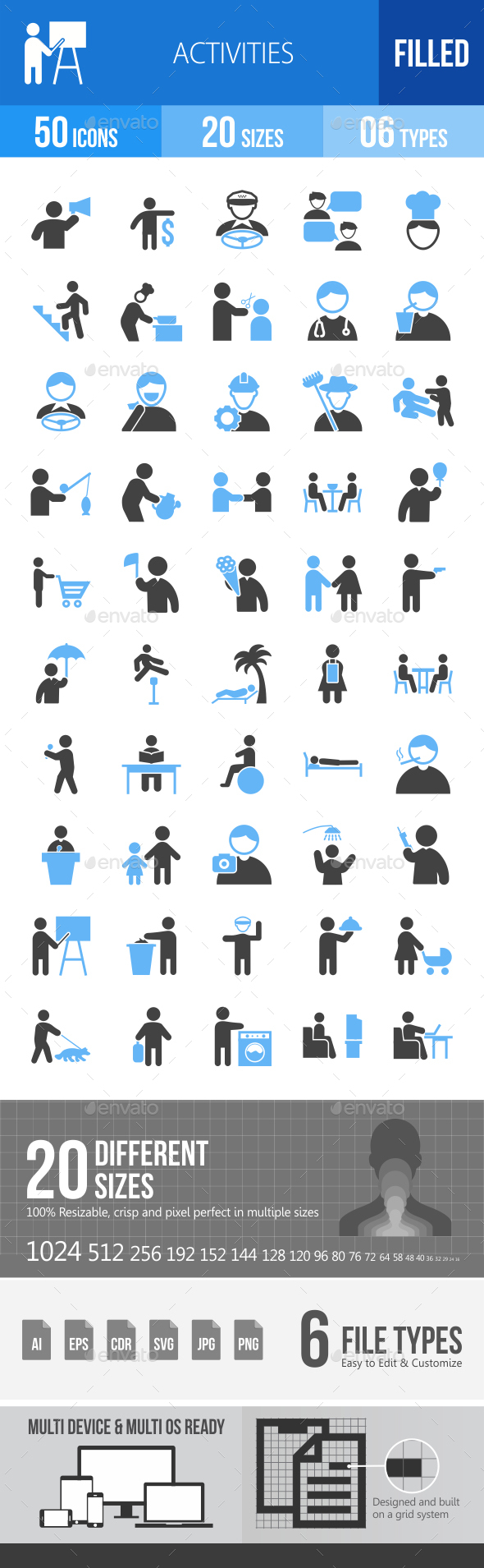 50 Activities Filled Blue & Black Icons - Icons