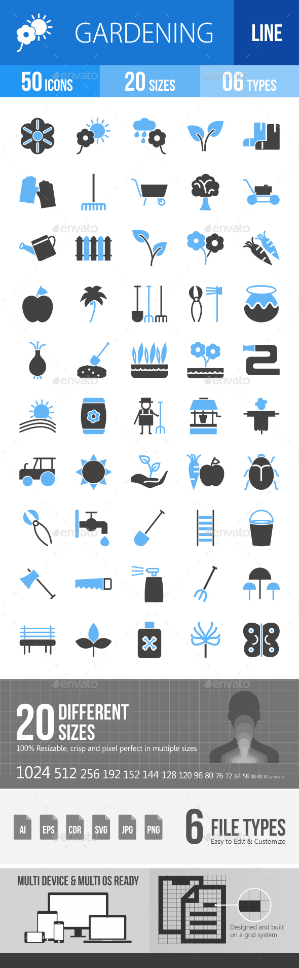 50 Gardening Filled Blue & Black Icons - Icons