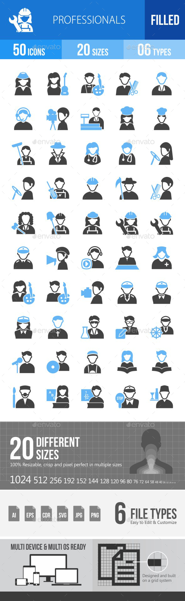 50 Professionals Filled Blue & Black Icons - Icons