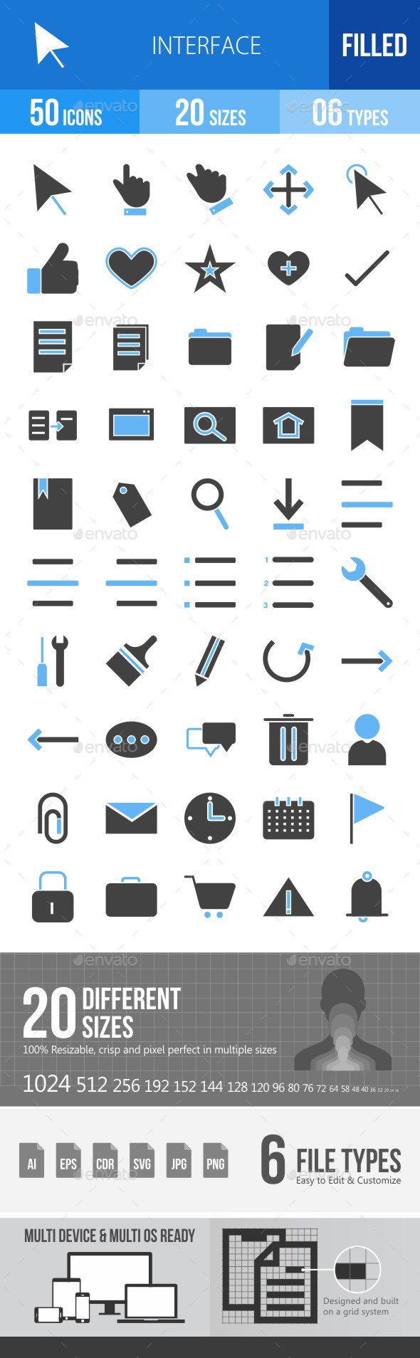 50 Interface Filled Blue & Black Icons - Icons