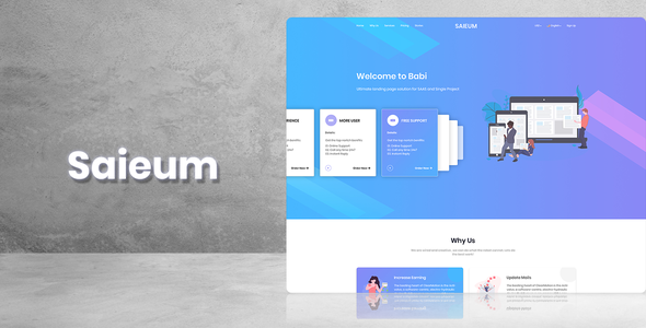 Saieum - Software, App & Product Showcase Landing PSD Design - Marketing Corporate