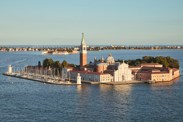 Aerial view of San Giorgio Maggiore island and basilica, Venice - Stock Photo - Images