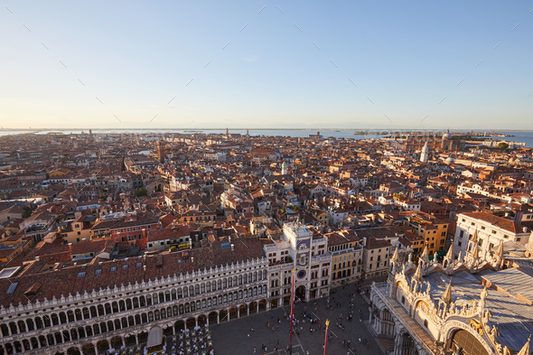 Elevated view of Venice with square and rooftops, Italy - Stock Photo - Images