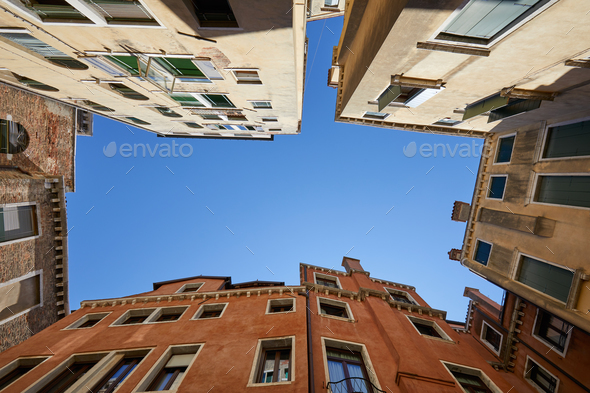 Venice buildings and houses facades low angle view - Stock Photo - Images