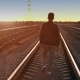 a Man Walking Away at Sunset - VideoHive Item for Sale