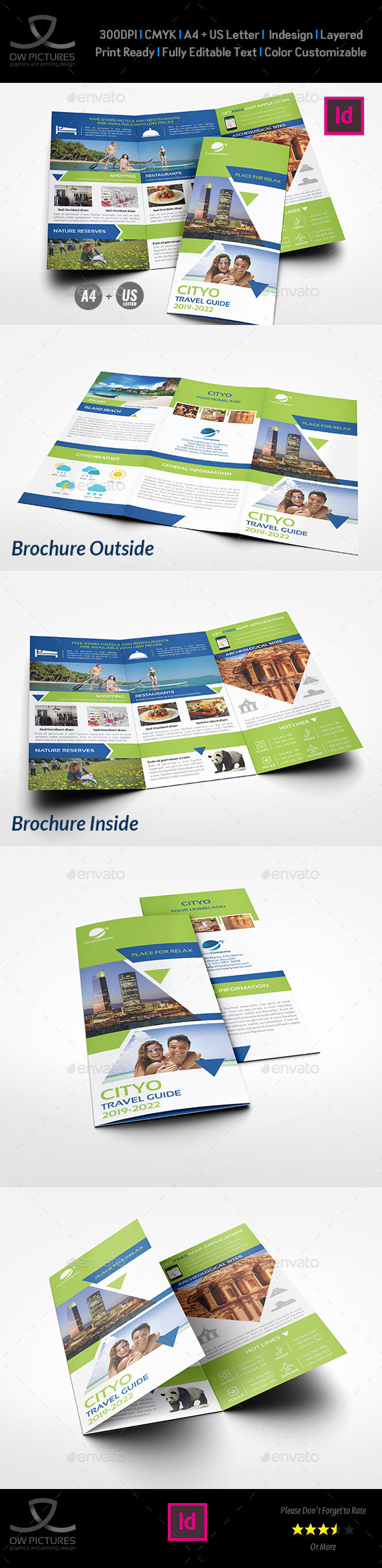 Travel Guide Tri Fold Brochure Template - Brochures Print Templates