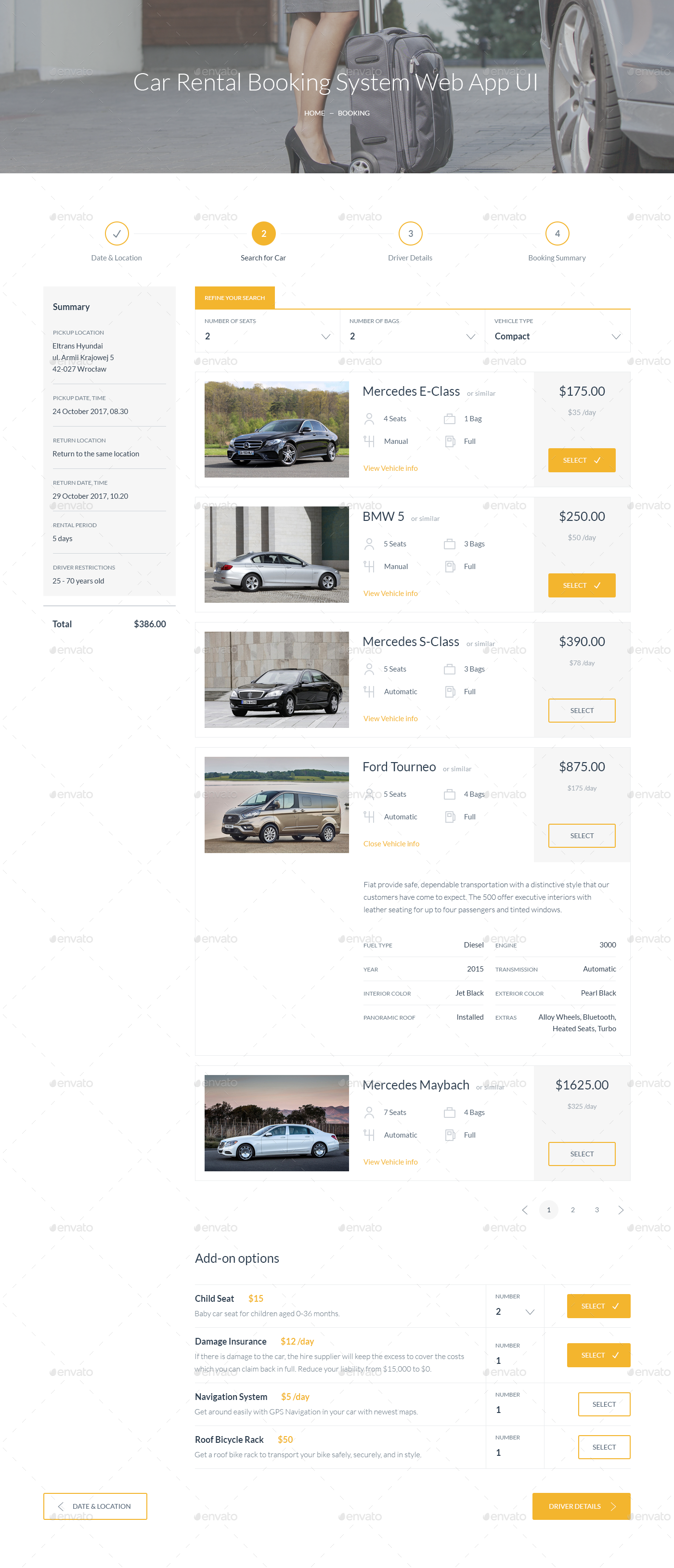 Car Rental Booking System Web App UI
