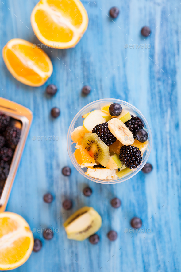 Top view of a cup full of tasty fruits in a cup - Stock Photo - Images