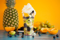 Summer delicious dessert of fruits topped with whipped cream - PhotoDune Item for Sale