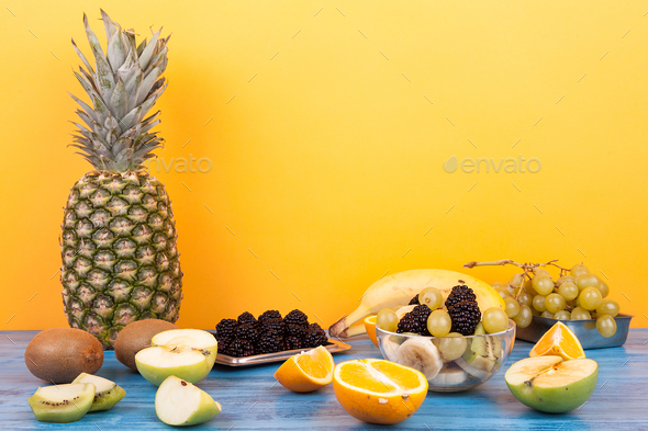 Mix of delicious and healthy tropical fruits - Stock Photo - Images