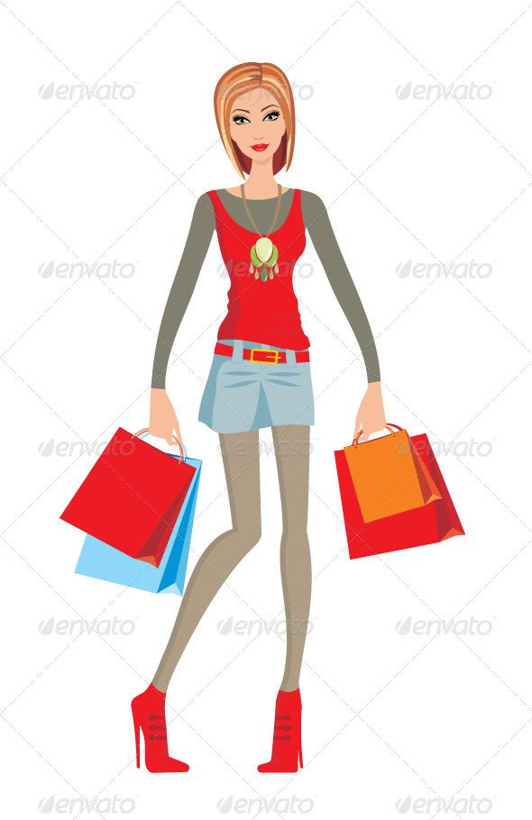Young woman makes shopping - Commercial / Shopping Conceptual