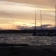 Magnificent Cloudy Warm Orange Evening Sunset Seascape Sky Over Yacht Silhouette in Little River - VideoHive Item for Sale