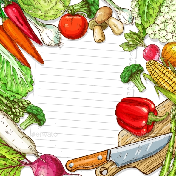 Vector Vegetables Design for Recipe Blank Note - Food Objects