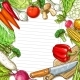 Vector Vegetables Design for Recipe Blank Note