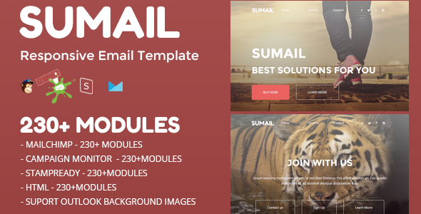 SUMAIL - Responsive Email Template (230+ Modules) + Stampready Builder - Newsletters Email Templates