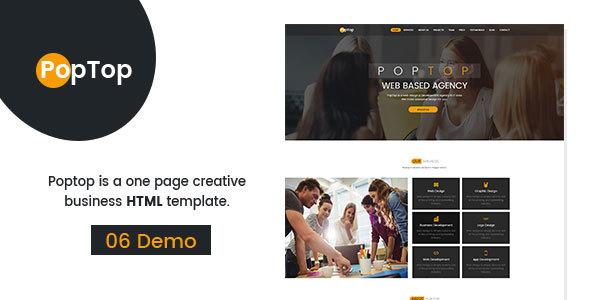 Image of PopTop Web Agency HTML 5 Responsive Bootstrap-4 Template.