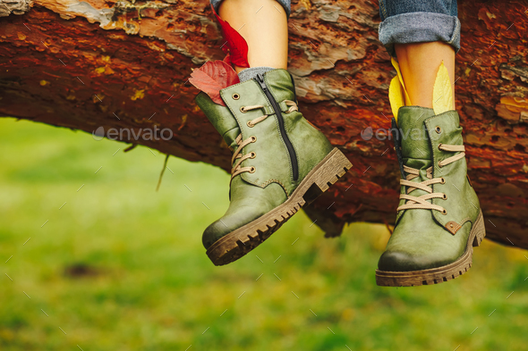Leather boots on women legs - Stock Photo - Images