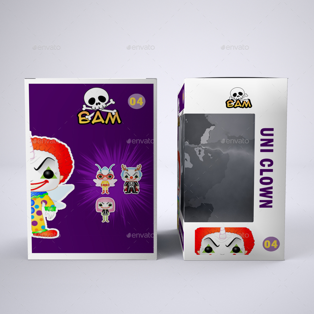 Vinyl Toy Box With Die Cut Window Packaging Mock Up By