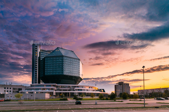 Minsk, Belarus. National Library Building In Summer Evening Suns - Stock Photo - Images