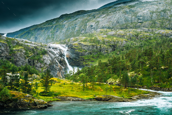 South Fjord, Norway. Giant Waterfall In Valley Of Waterfalls. Hu - Stock Photo - Images