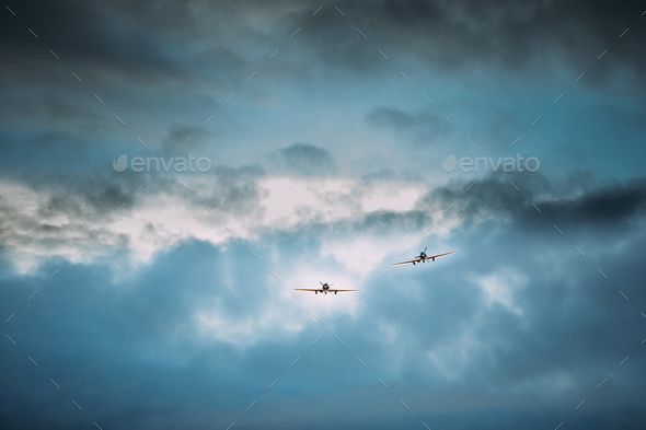 Old Planes Aircraft Airplanes Flying In Cloudy Sky - Stock Photo - Images