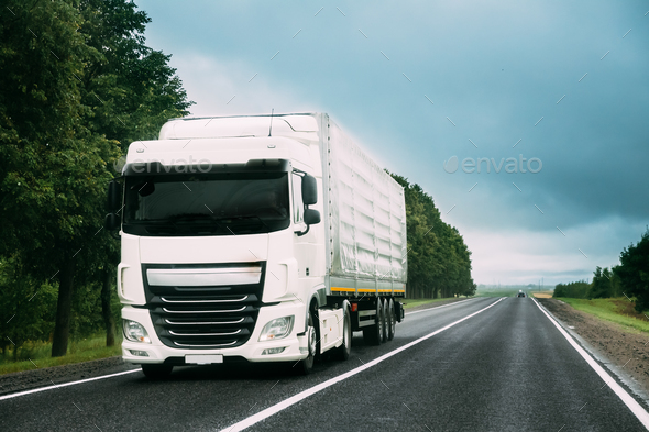 Truck Tractor Unit, Prime Mover, Traction Unit In Motion On Road - Stock Photo - Images