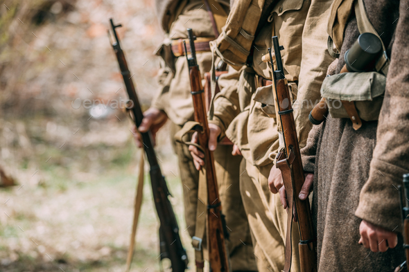 Close Up Of Re-enactors Dressed As Soviet Infantry Soldiers Of W - Stock Photo - Images